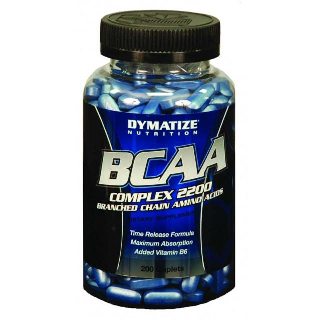 BCAA Complex 2200, аминокислоты, производитель Dymatize, упаковка банка 400 капсул